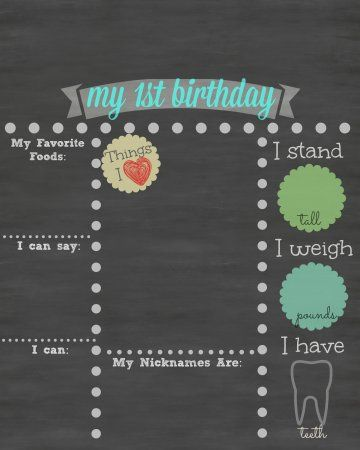 Free Printable First Birthday Chalkboard Sign Burfday Pahtay