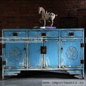 Aparador oriental azul envejecido muebles chinos for Muebles orientales