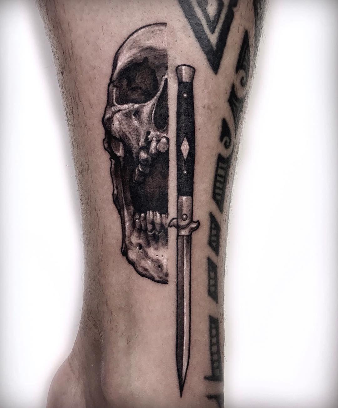 Knife And Skull Skull Rose Tattoos Body Tattoos Knife Tattoo