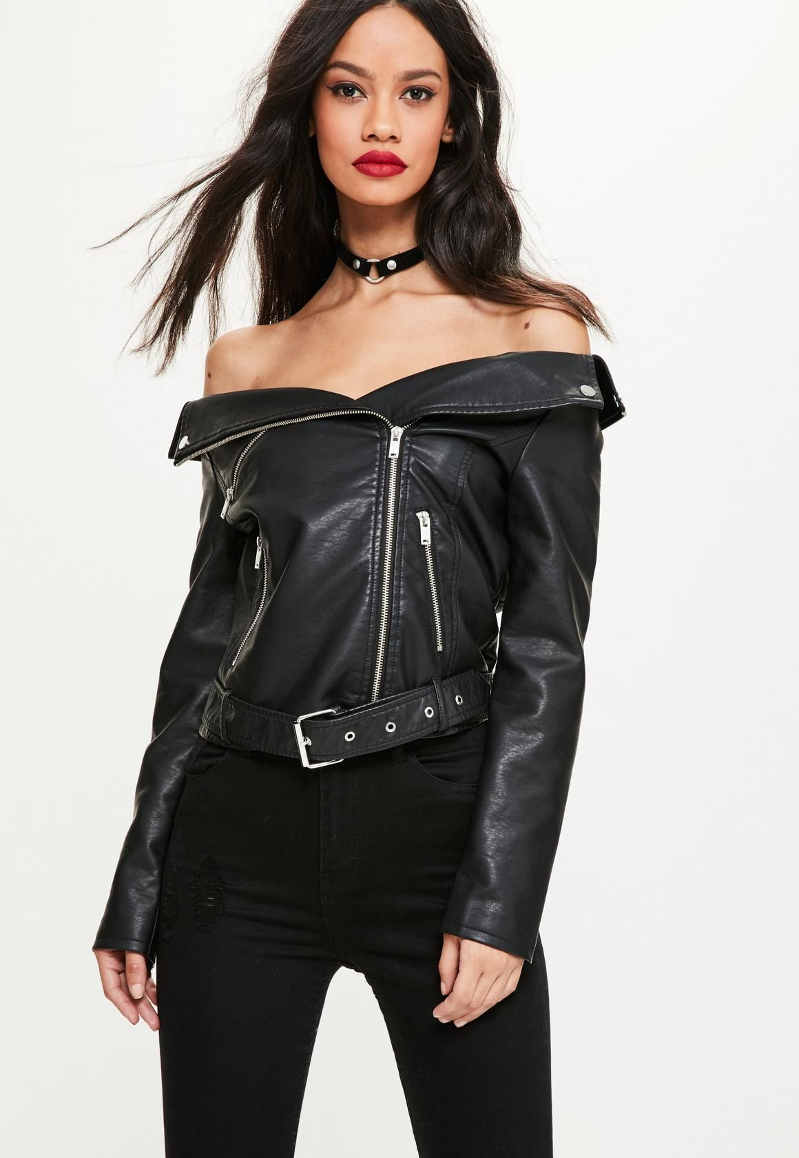 latest releases 2019 professional sold worldwide Missguided - Black Faux Leather Off Shoulder Jacket ...
