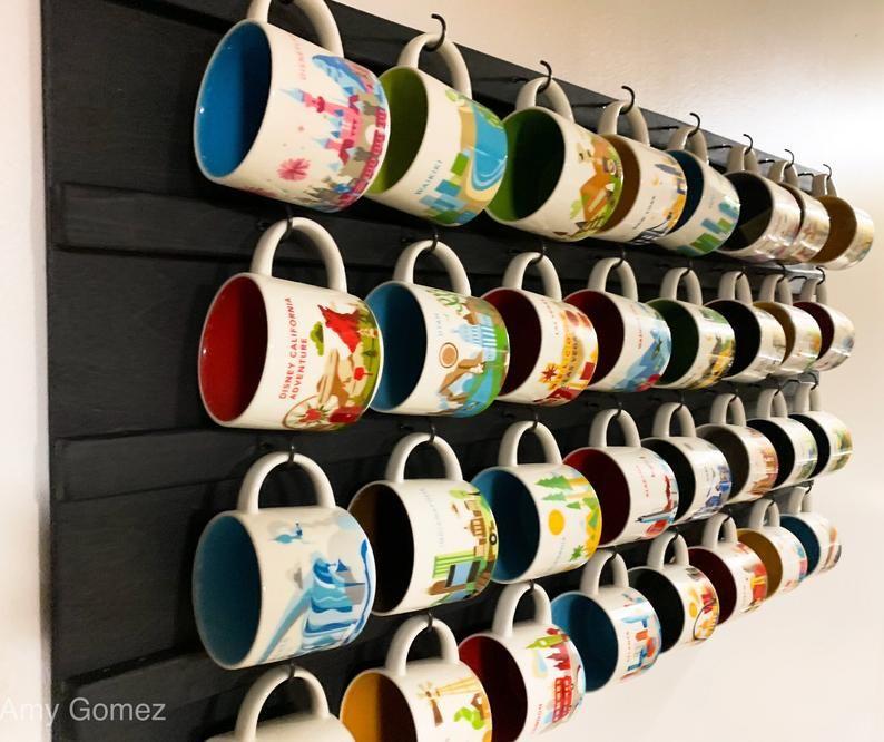 Wall Mounted Coffee Mug holder, Coffee Cup Rack, Coffee Mug/Cup Display, Mug/Cup Shelf Storage, Farmhouse Rustic Coffee Mug Rack Starbucks