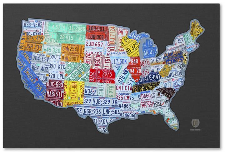 Design Turnpike \'Massive Usa License Plate Map\' Canvas Art ...