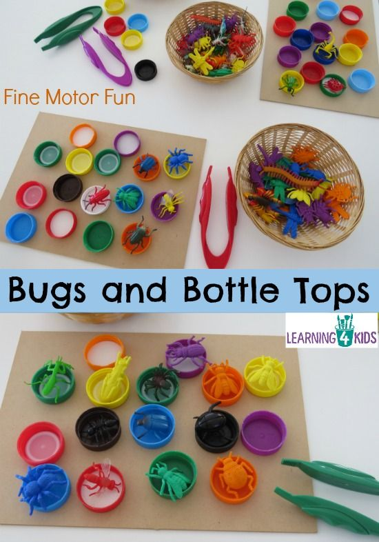 Attività sui colori: gli insetti colorati - Bugs and Bottle Tops - simple, fun fine motor activity for kids.