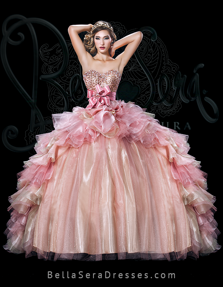 Style BS-1501 This perfectly embellished pale pink/gold Bella Sera ...