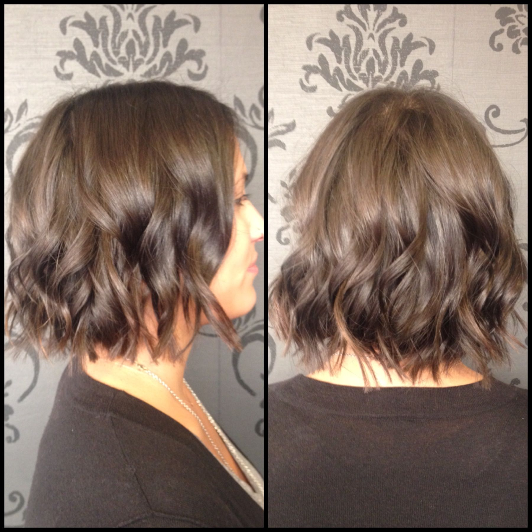 Short Hair Textured Bob Bob Waves Flat Iron Waves Brunette Hair Styles Fresh Hair Bob Braids Hairstyles