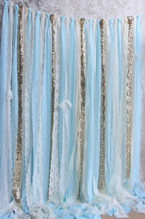 Blue White Lace Sparkle Sequin Backdrop Props Photobooth Baby