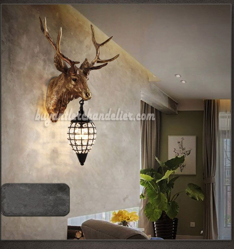 Antique elk deer head antler wall sconces lamps mount crystal antique elk deer head antler wall sconces lamps mount crystal pendant light faux taxidermy decor aloadofball Choice Image