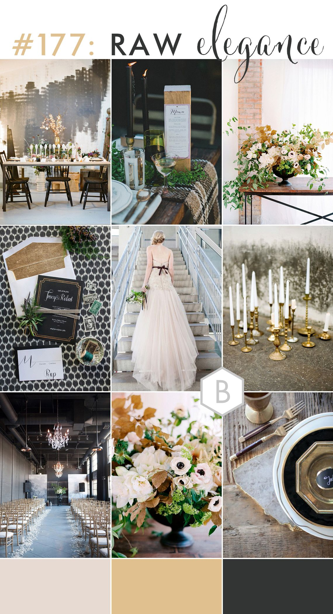 Wedding decorations black and gold  Raw Industrial Black u Gold Wedding Inspiration  Industrial wedding