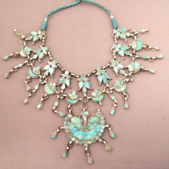 India | Traditional collar necklace from Kashmir | Silver and ...