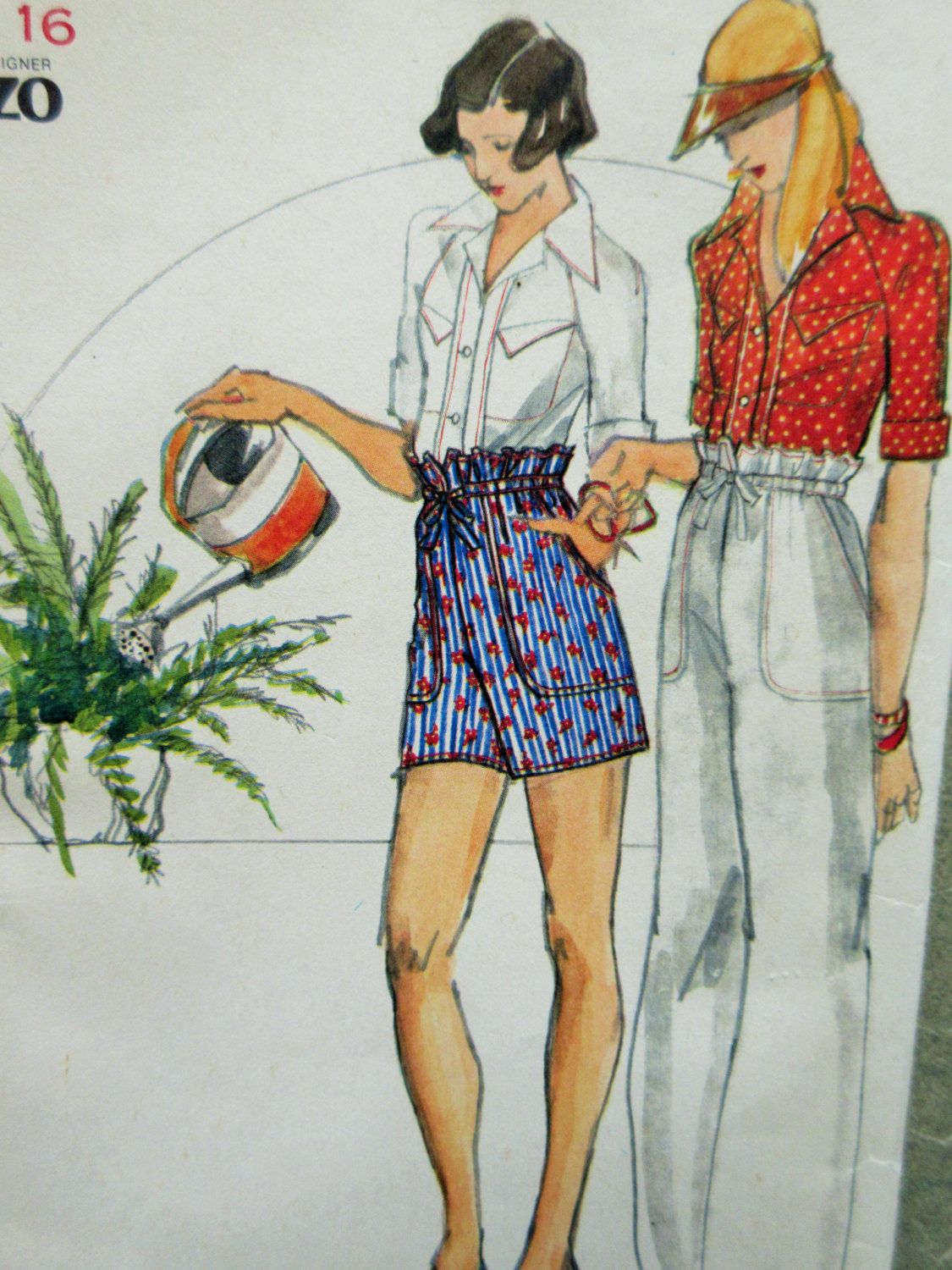 Paper bag waist pants pattern - Vintage Butterick 3658 Sewing Pattern Kenzo Design 1970s Sewing Pattern Shirt Pattern Paper Bag Waist Drawstring Pants Shorts Bust 38