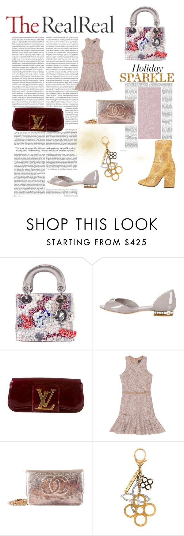 """Holiday Sparkle With The RealReal: Contest Entry"" by zerinafe on Polyvore featuring Christian Dior, Chanel, Oris, Louis Vuitton, Lanvin and Dries Van Noten"