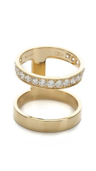 campbell double stack ring with diamonds