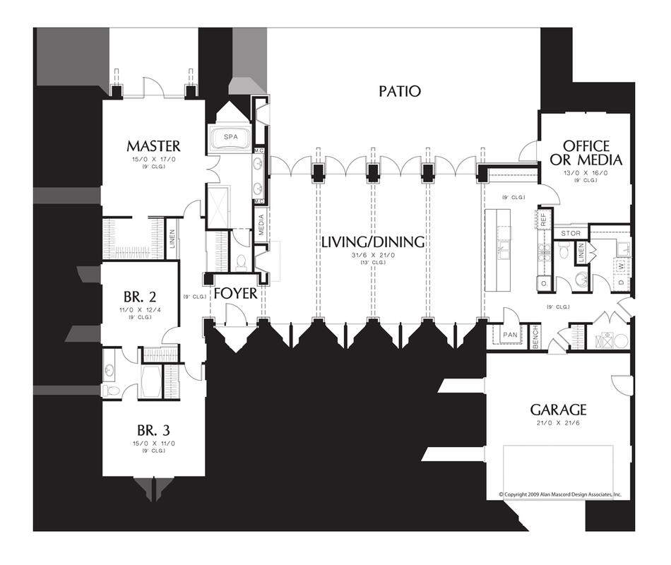 House plan 1240 the hampton for Casa moderna hampton hickory