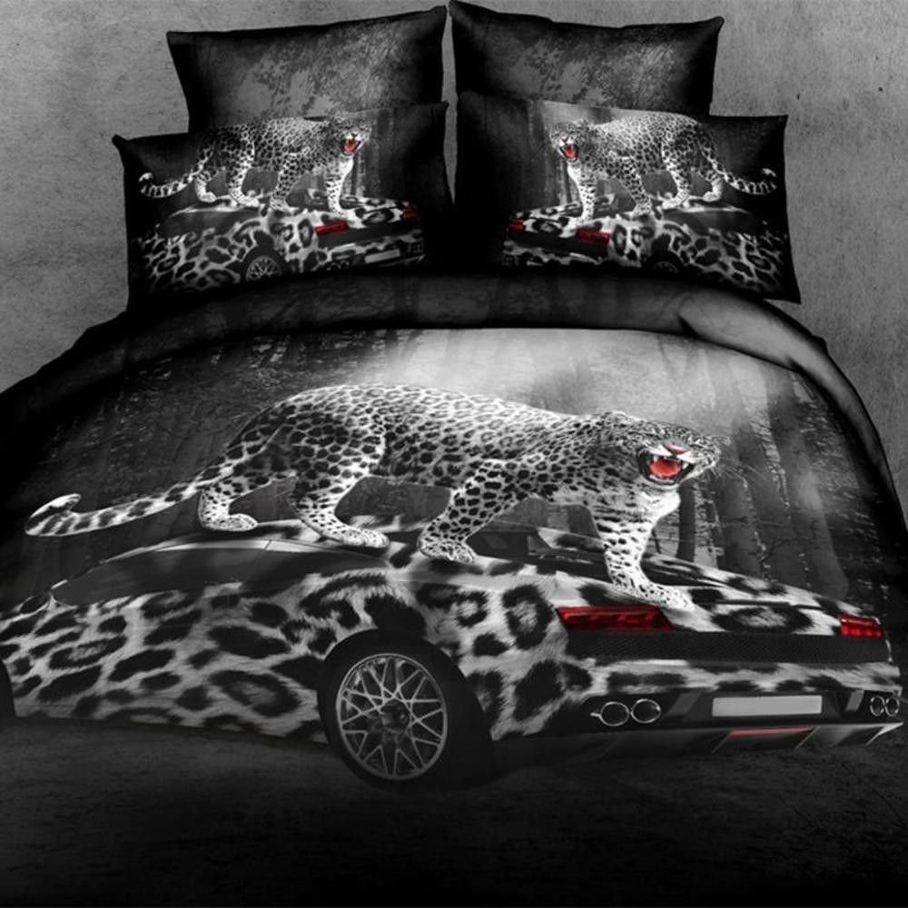 Leopard and red bedding - 3d Urban Gray And Red Leopard Bedding Set 100 Cotton Sizes Full Queen