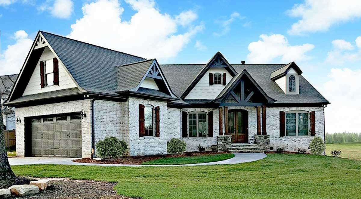 Plan 12262jl Expandable Rustic Ranch With Angled Garage Ranch Style House Plans Craftsman House Plans Craftsman House