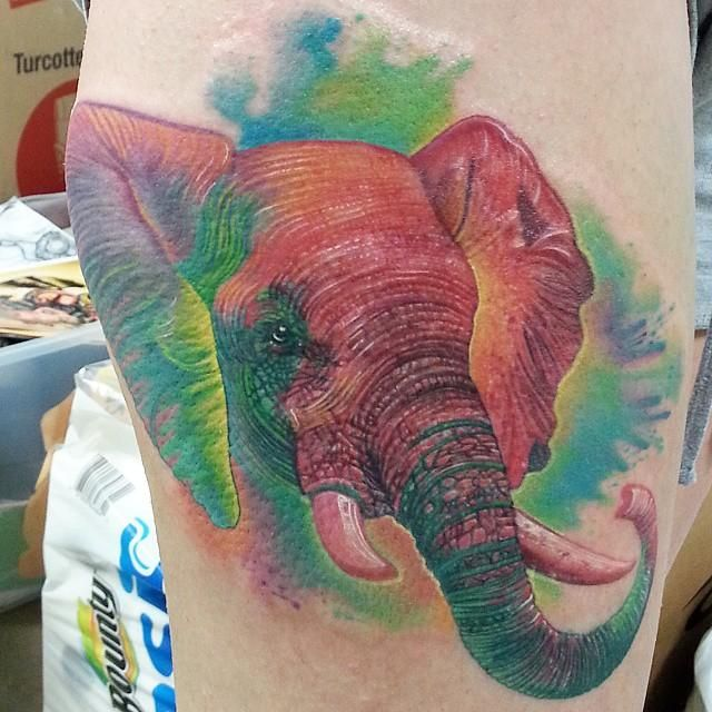 Color Elephant Tattoo by Nate Beavers: TattooNOW :
