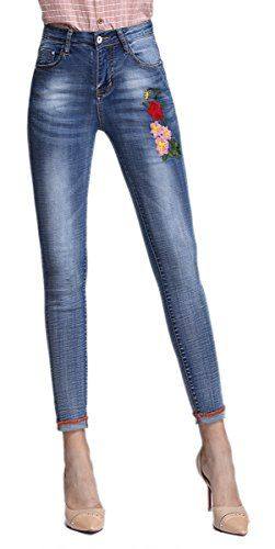 c57038c4a1 Skirt BL Women s Butt Lift Slim Flowers Embroidered High Waist Stretchy  Skinny Jeans