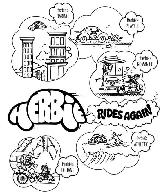 Page from Herbie. The Love Bug Coloring Book | Disney coloring pages ...