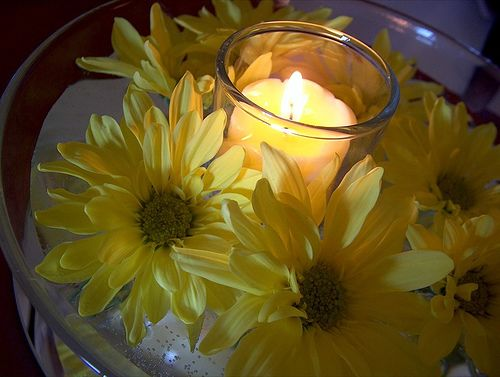 Sunflower centerpieces simple wedding with