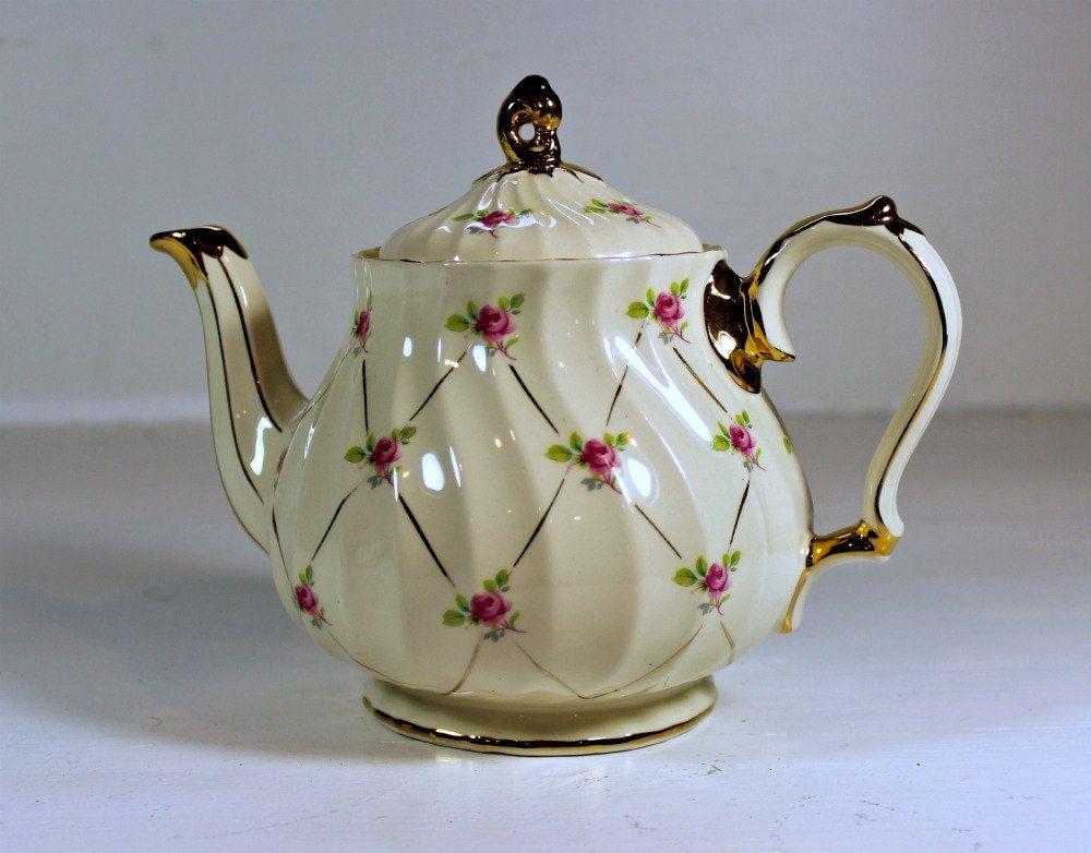 Vintage Sadler Teapot China Roses England 2740 35 00