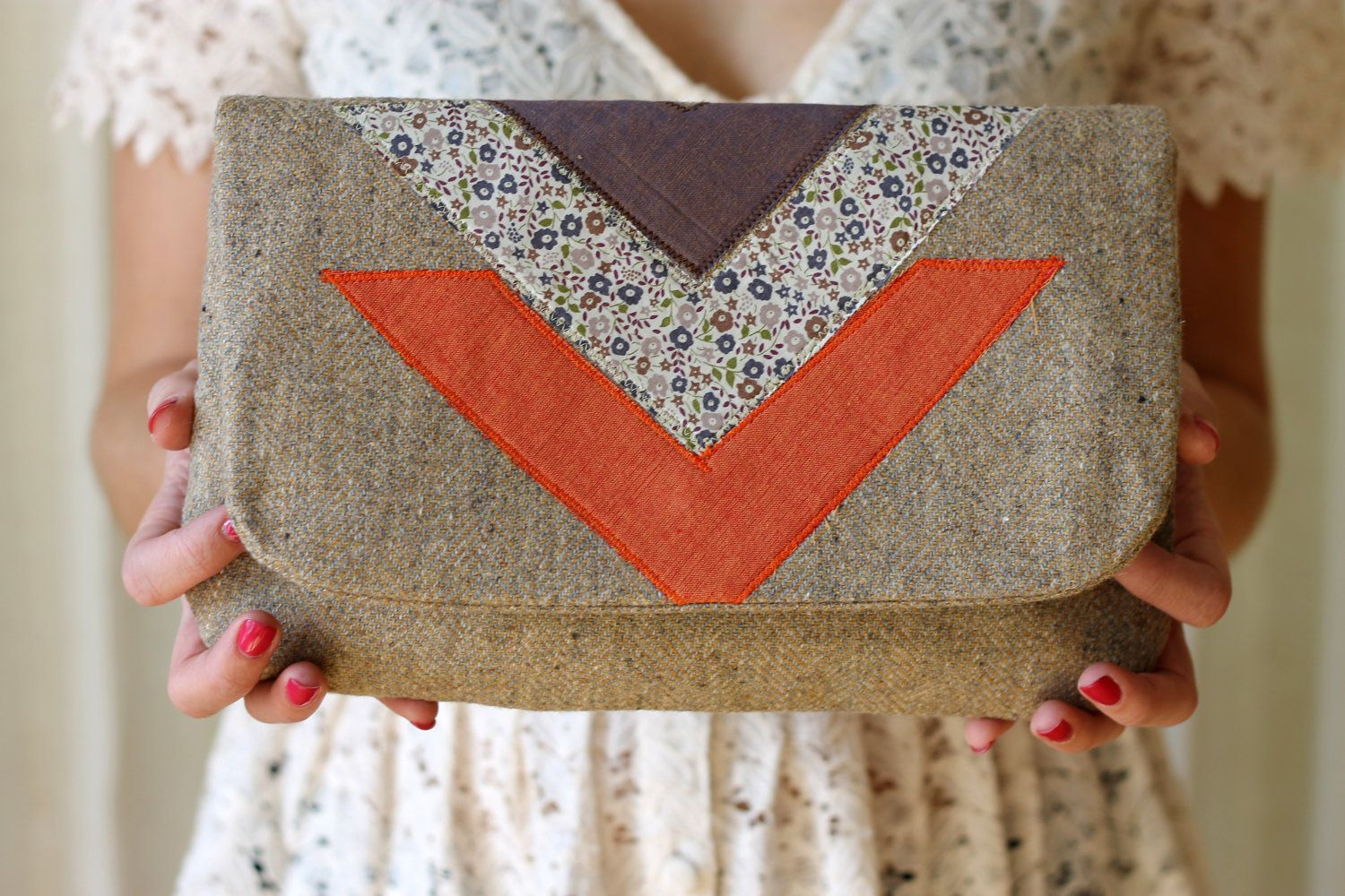NEW Liberty Chevron Clutch, Large, Tan Wool, Applique