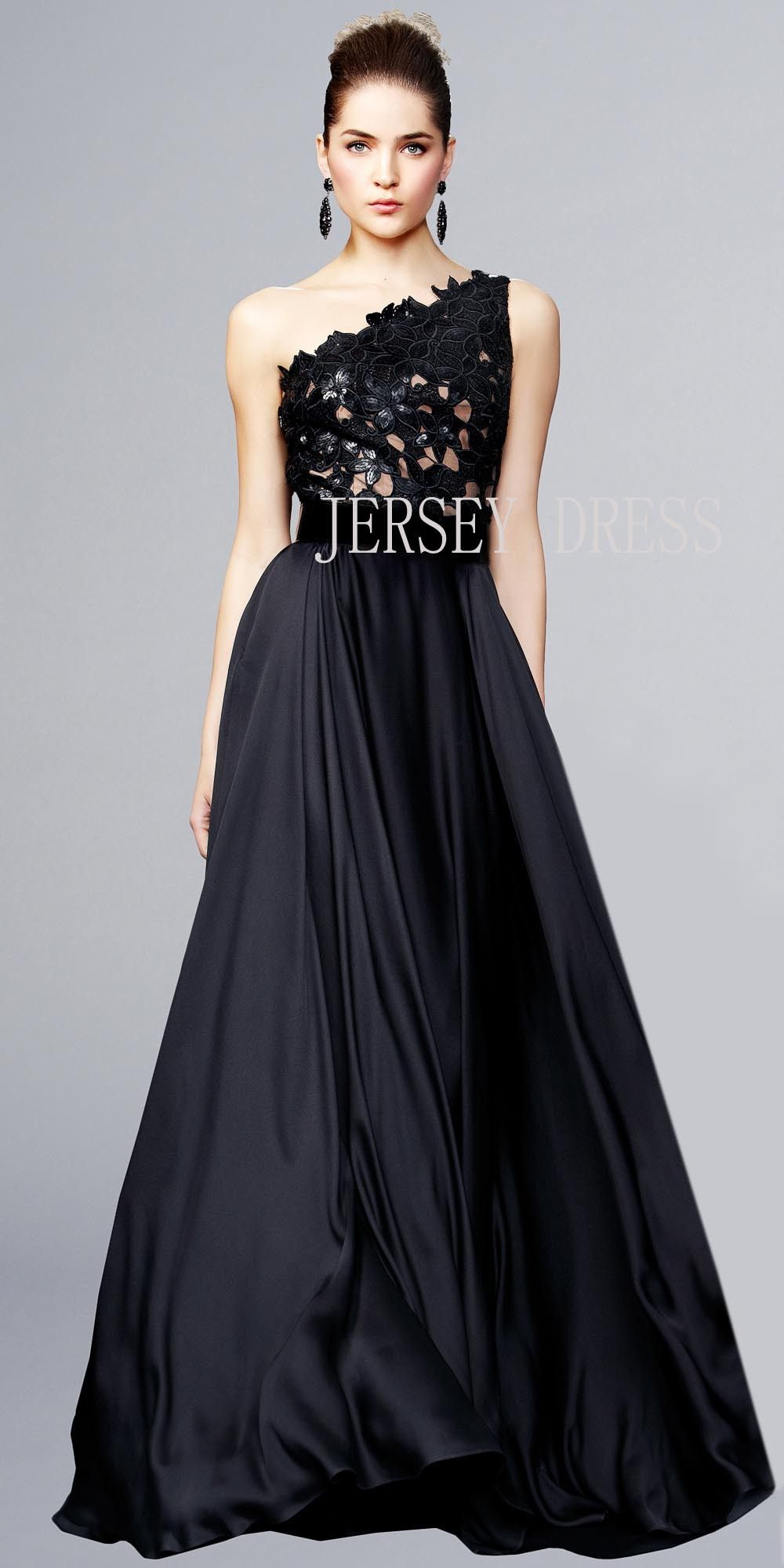 Star of the same models black evening dress skirt E2442 oblique ...