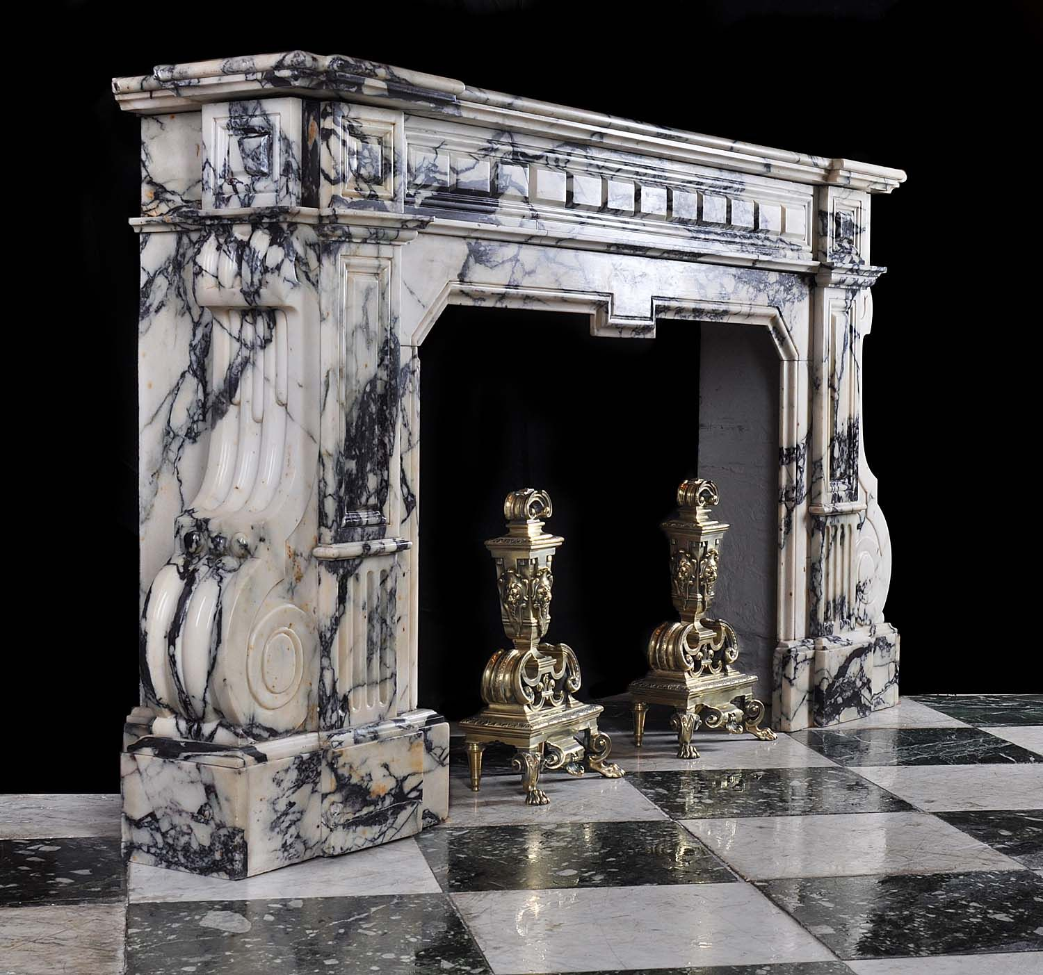 antique marble fireplace mantels. This looks like a French Baroque fireplace because it is made of marble  which was