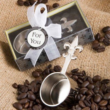 The Fleur De Lis Design Coffee Scoop Favors Feature A Chrome Metal With An Intricately Detailed