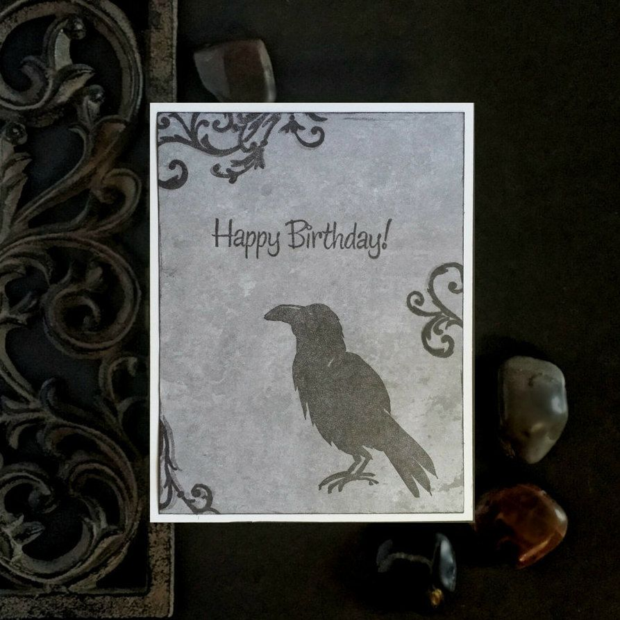 Raven Birthday Card Gothic Greeting Card Edgar Allan Poe Card Birthday Cards Steampunk Items Etsy Items