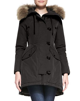 Asymmetric-Button+Jacket+with+Coyote+Fur+Trim+by+Moncler+at+Bergdorf+Goodman.