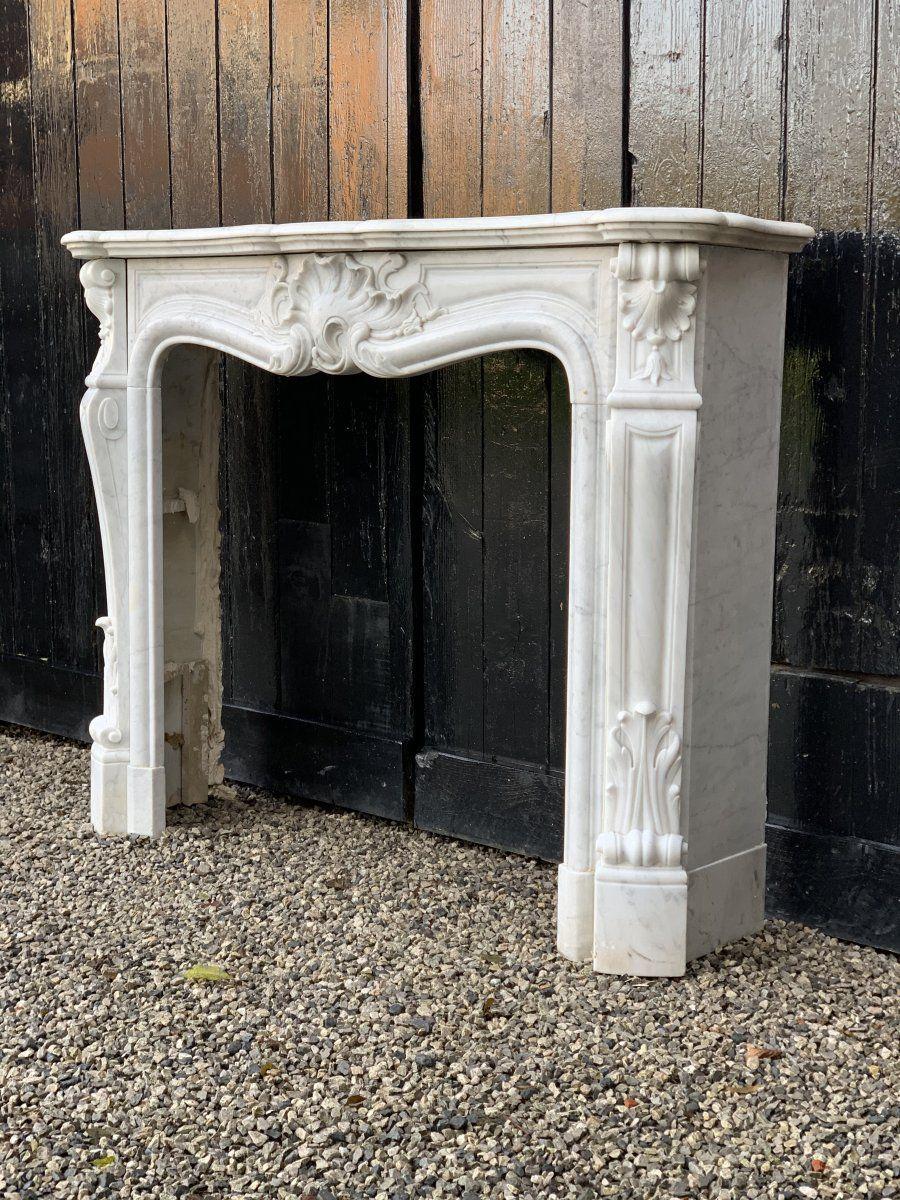 cheminee en marbre blanc de carrare de