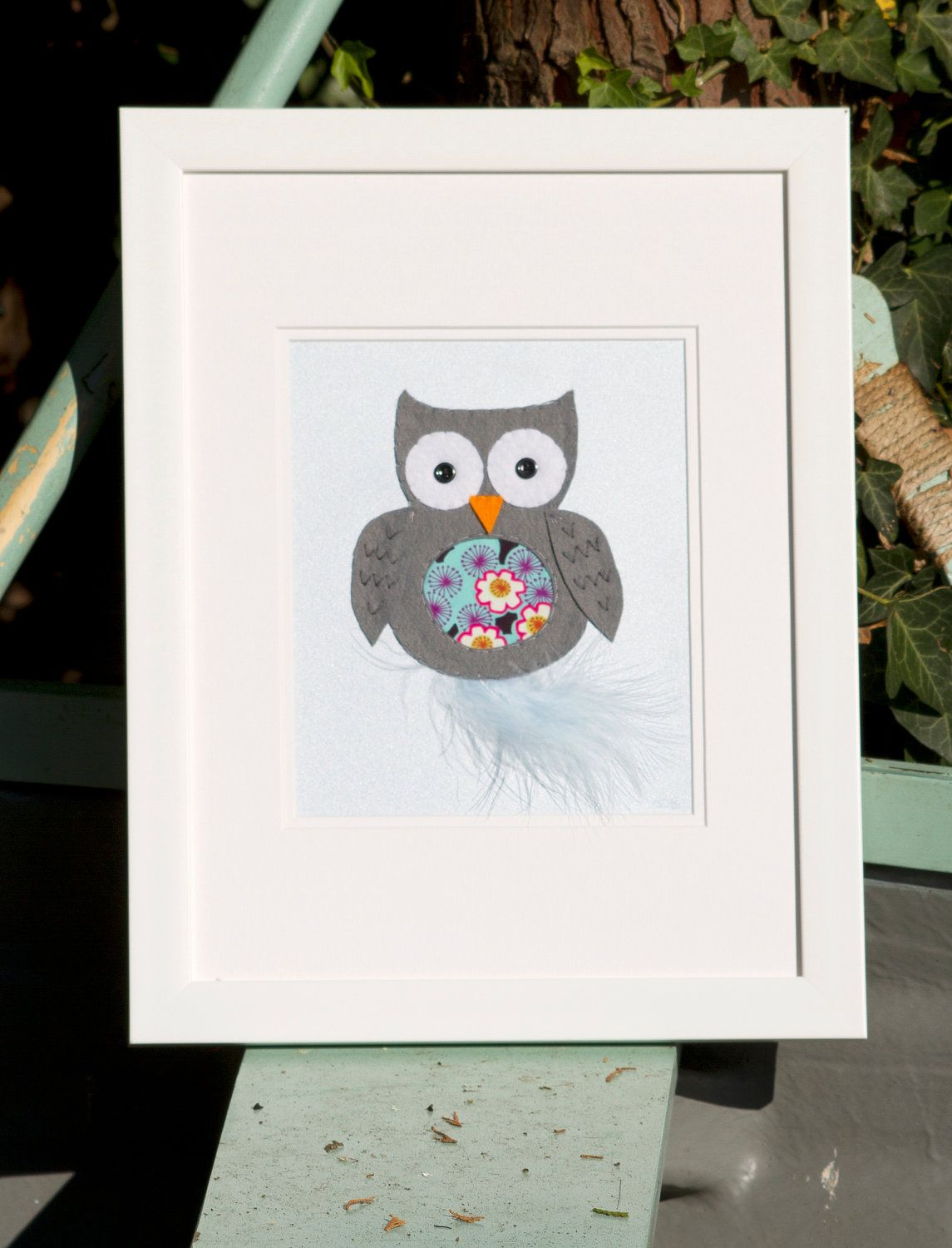 Framed Nursery Owl Art Baby Felt Picture Wall Decor Childrens Pictures Woodland By Thenurseryboutiqueuk On