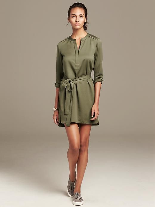 4d65845af4765 Banana Republic Olive Green Zip-Front Shirtdress - a fall staple Fancy Tops,  Classy