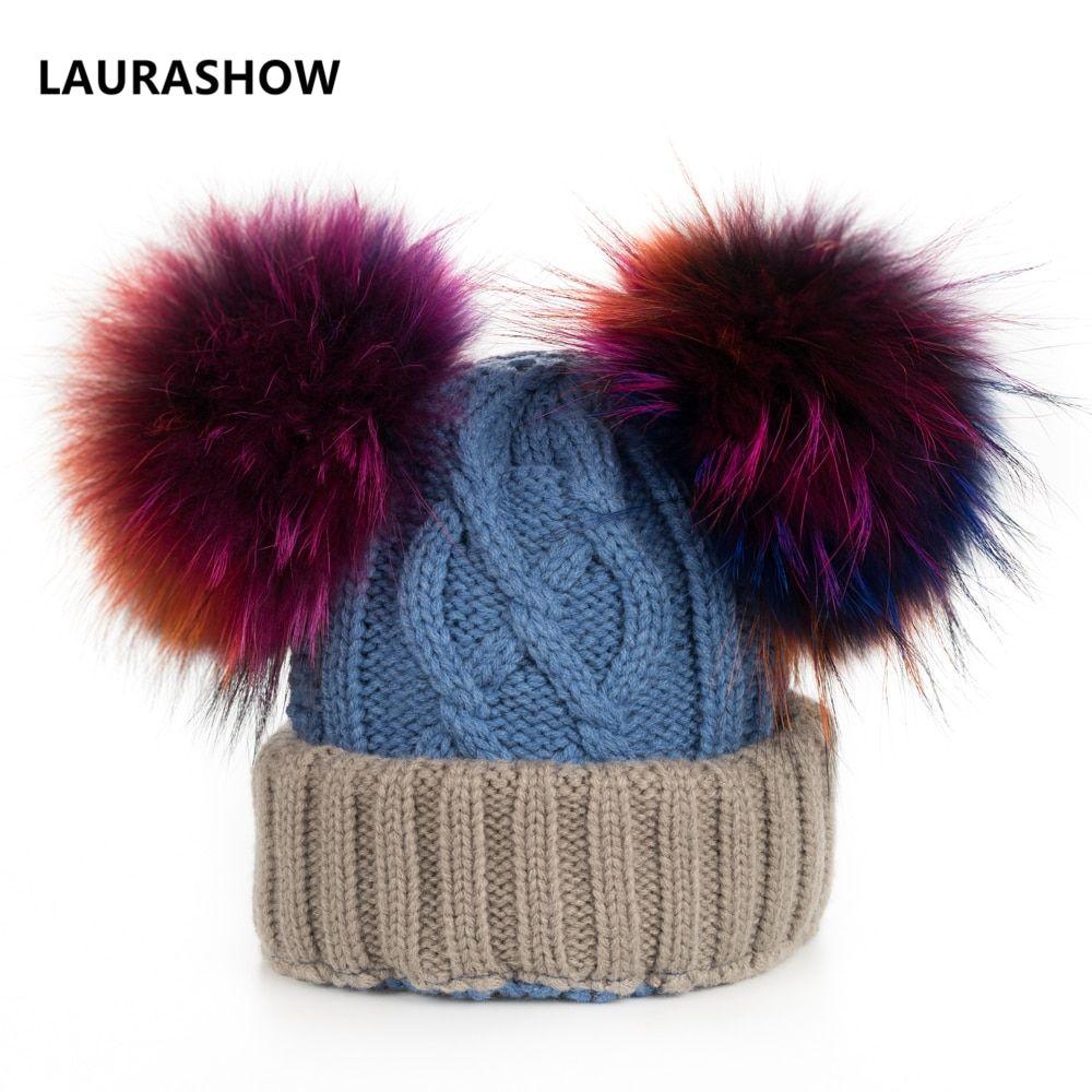 3223d2d7ffe LAURASHOW Baby Winter Real 16cm Mink Fur Ball Beanie Knit Hat Kids Warm  Raccoon Multi Color