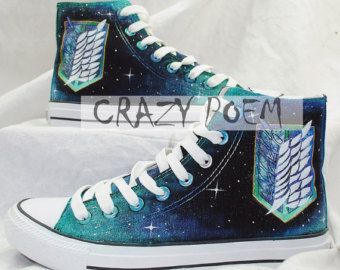 Attack on Titan with Galaxy Background Hand Painted Shoes Black Canvas  Sneakers Anime Custom Shoes Best Gift for Men Women 85bc541b6
