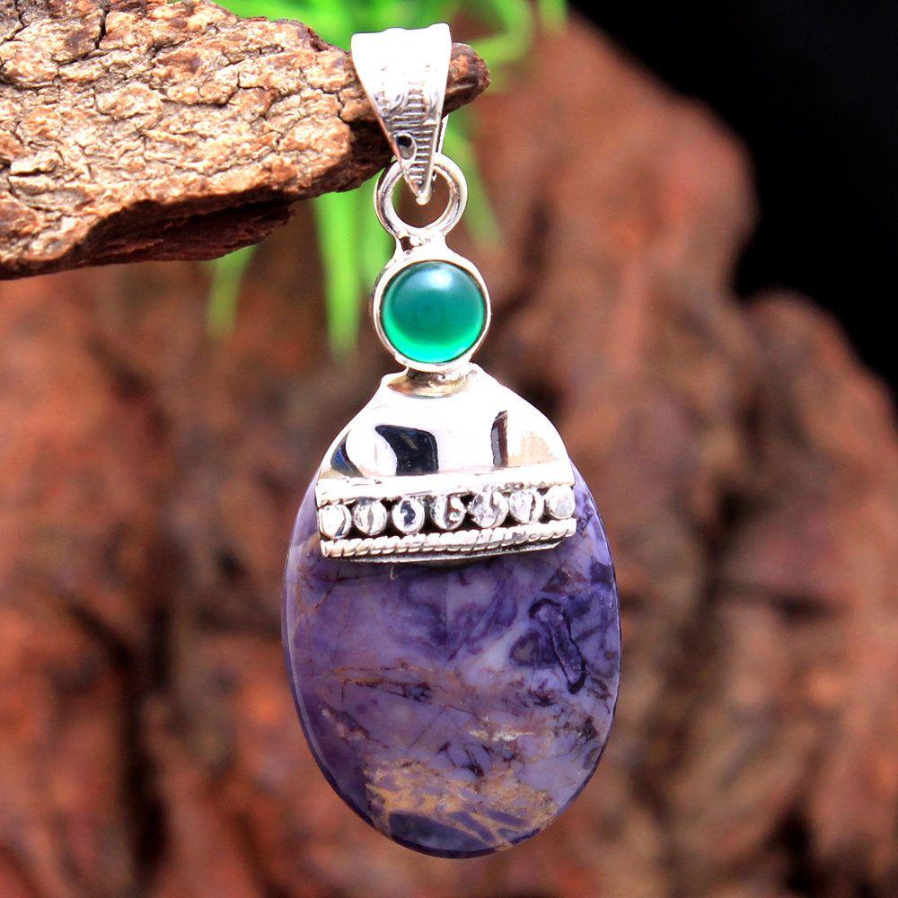 "Green Onyx Holy Cross Pendant 925 Sterling Silver Handmade Jewelry 1.75/"""