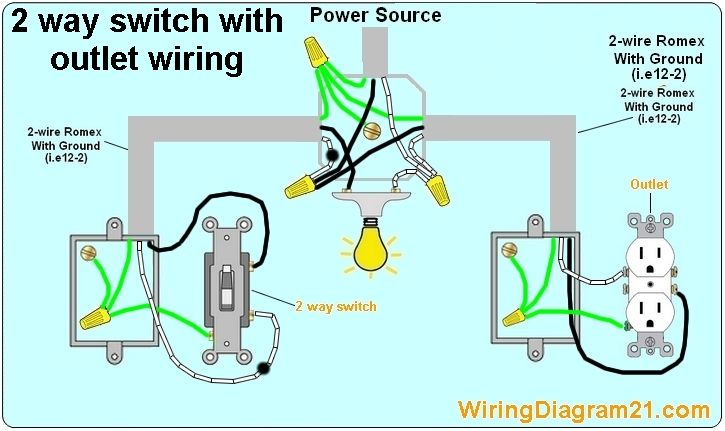 electrical outlet 2 way switch wiring diagram how to wire light with rh pinterest com 1-Way Switch Wiring Diagram 1-Way Switch Wiring Diagram