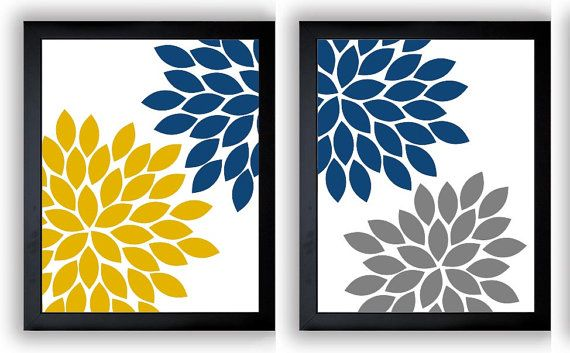 Instant Download Bright Yellow Navy Blue Grey Gray