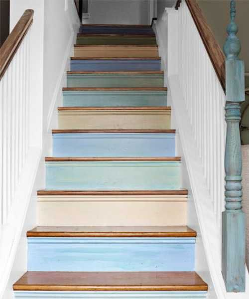 Wooden Stairs Painted White And Blue Colors