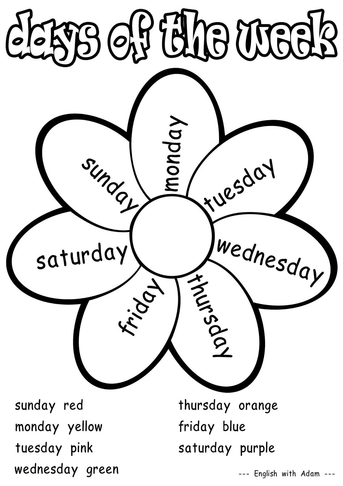 Days of the week | Worksheets in 2018 | Pinterest | English, School ...