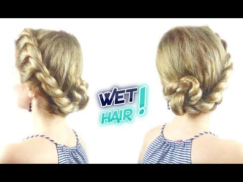 Cute Hairstyle For Wet Hair Easy Rope Bun Updo Awesome Hairstyles