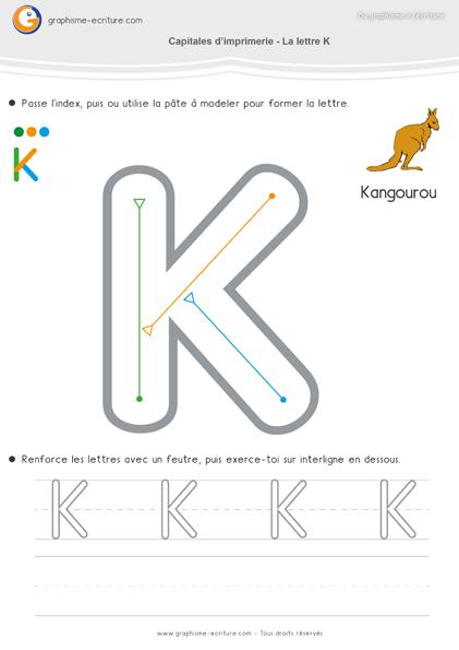 Maternelle ecriture moyenne section ms apprendre crire capitales imprimerie lettre k - K en majuscule ...
