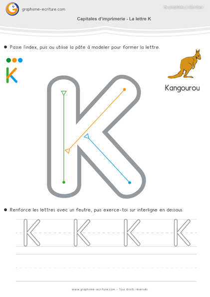 Maternelle ecriture moyenne section ms apprendre crire capitales imprimerie lettre k - Apprendre a broder des lettres ...