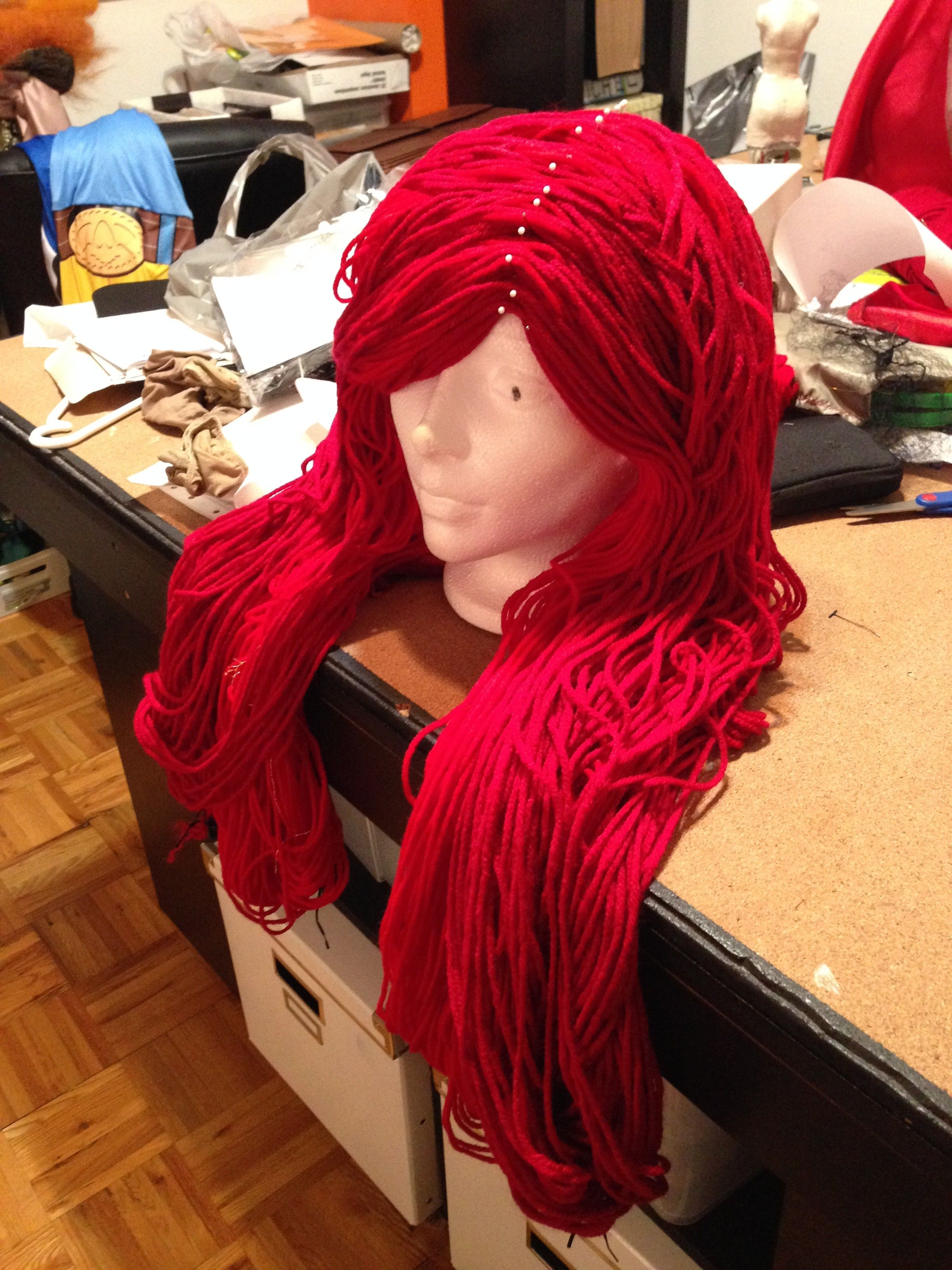 Wool Yarn Wig Tutorial Yarn Wig Diy Wig Crochet Wig