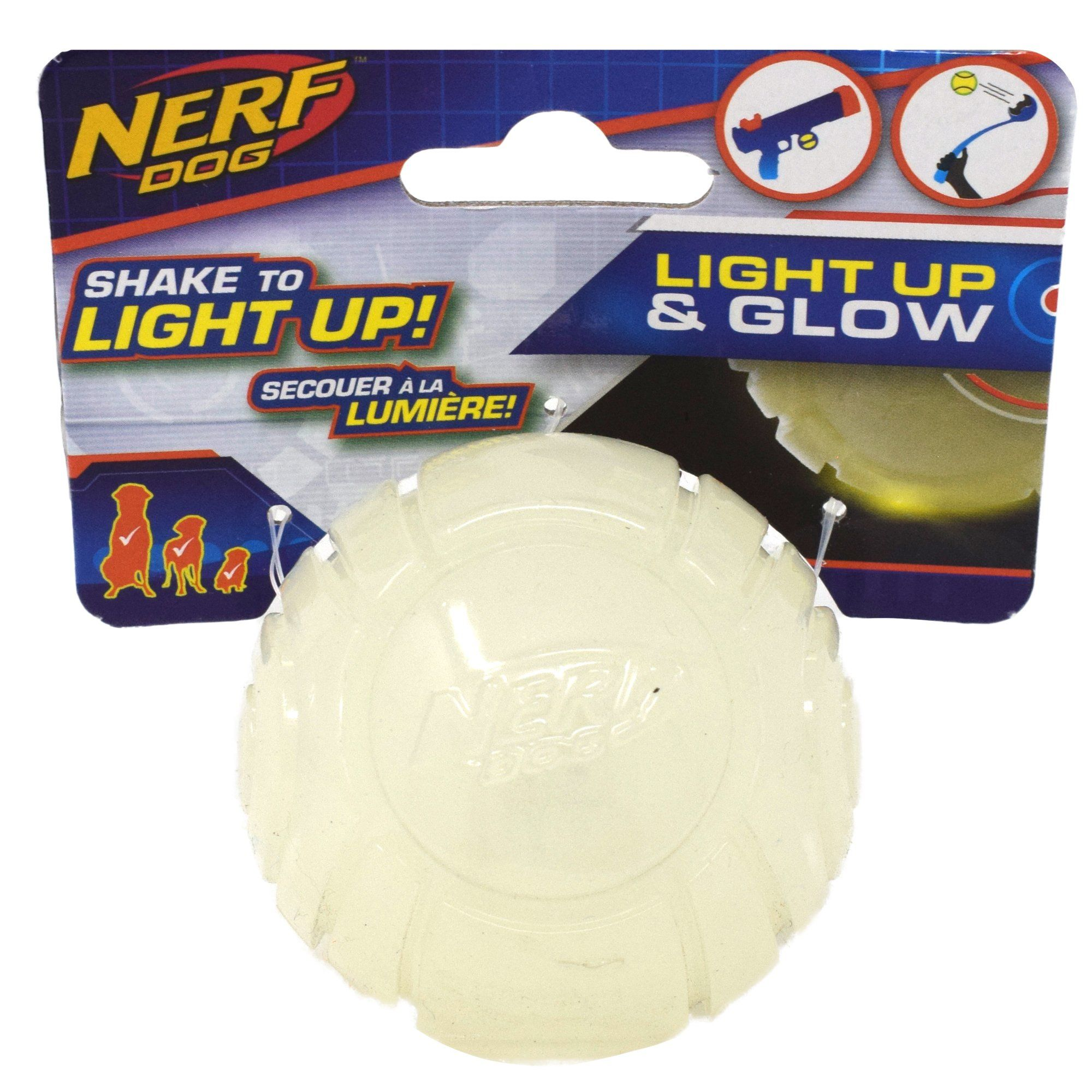 Info's : Nerf TPR Lightning LED Glow Ball Dog Toy, Small | Petco
