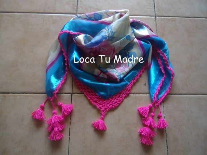 Pañuelos de seda combinados con Crochet
