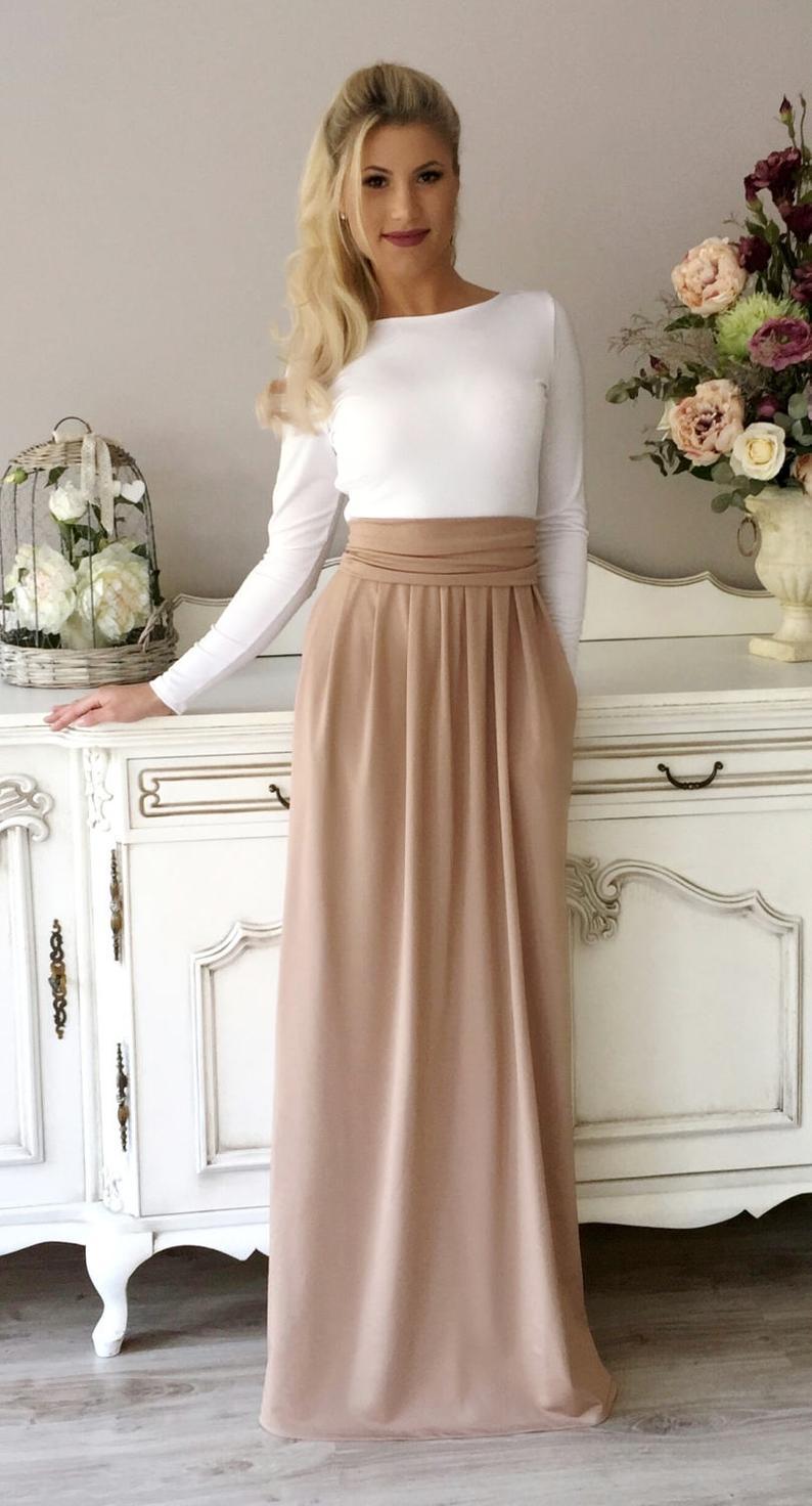 Deep Open Back Long Dress/ Long Sleeves Pockets Sash White
