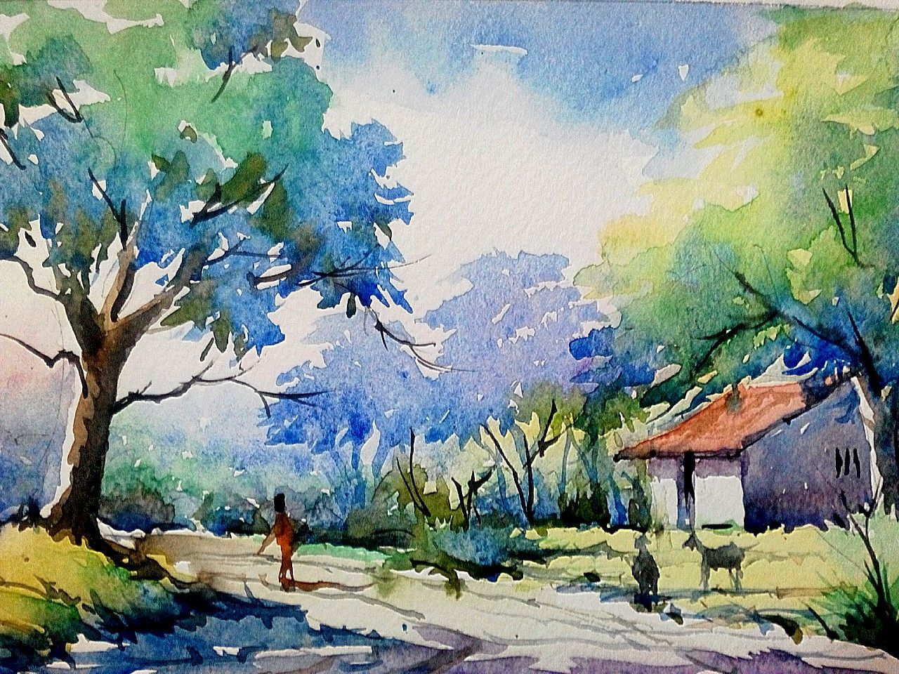 Pin By Bn Mecheri On Art1 Watercolor Scenery Watercolor