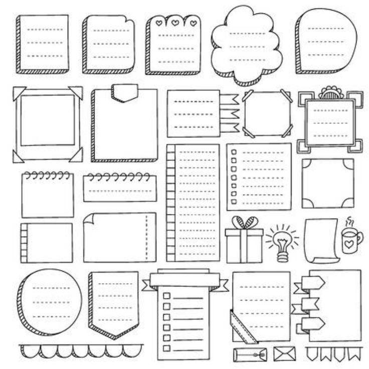 Bullet journaal hand getekende vector-elementen voor notebook, dagboek en planner. Doodl … …