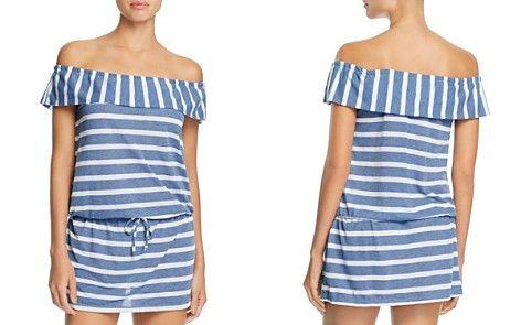 9d3b3c5ab87c9 Splendid Chambray Cottage Stripe Off-the-Shoulder Dress Swim Cover ...